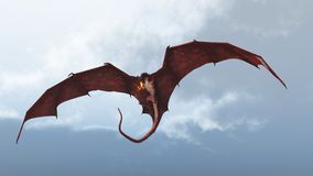 Red Dragon Attacking from a Cloudy Sky. Red fire breathing dragon flying in to attack from a cloudy sky, 3d digitally rendered illustration Royalty Free Stock Photography