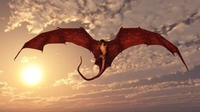 Red Dragon Attacking from a Sunset Sky. Red fire breathing dragon flying in to attack from a cloudy sunset sky, 3d digitally rendered illustration Royalty Free Stock Photo