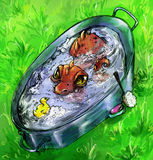 Red dragon bathing with toy duckling. Little red dragon bathing in metal bath with yellow toy duck. Green grass is around and brush and soap ready nearby. Ink Stock Image