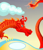 Red Dragon with blank space for text Stock Photos