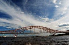 Red Dragon bridge over Irtysh river, near Khanty-Mansiysk, Russi Stock Photo