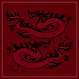 Red Dragon. Card with two Chinese dragons on a red background. Vector illustration Stock Image