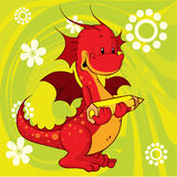 Red dragon cartoon Stock Photography