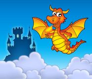 Red dragon with castle. Color illustration Royalty Free Stock Images