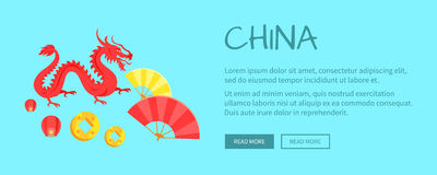 Red Dragon Chinese Symbol and Fans Web Banner. Red dragon and fans web banner. Hand drawn ruddy chinese symbol reptilian traits of prosperity and welfare. Vector Royalty Free Stock Images