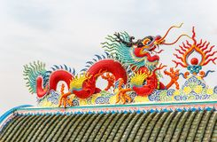 Dragon on chinese temple roof. Red dragon, on chinese temple roof use for background stock photos