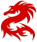 Red dragon, with dash around the edges Stock Photography