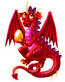 Red Dragon with Egg Royalty Free Stock Photography