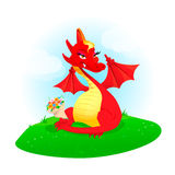 Red dragon with flowers. Vector illustration with cute red dragon with flowers on a green meadow vector illustration