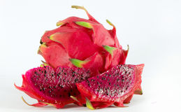 Red dragon fruit. Healthy red dragon fruit against white background royalty free stock image