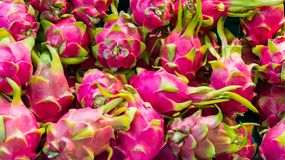 Red dragon fruit on market stand, Thailand royalty free stock image