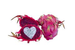 Red dragon fruit and one cut open Stock Image