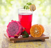 Red Dragon fruit  and Orange Smoothie Stock Images