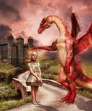 Red dragon and a girl Stock Images