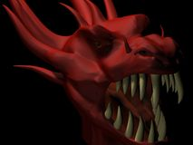 Red dragon head. 3D render of red dragon head . My inspiration was a legends about mythic creatures Royalty Free Stock Photography