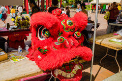 Red dragon head costume Seattle Chinatown festival. Red dragon head costume used for traditional dragon dance Royalty Free Stock Photography
