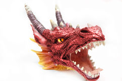 Red Dragon Head. A red dragon head statue that has been reanimated Royalty Free Stock Photos