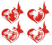 Red dragon hearts. Four retro red dragon hearts - a success symbol ready for a tattoo, emblems, an embroidery, love cards, also for labels, stickers and T-shirt Royalty Free Stock Photography
