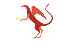 Red dragon holding a daffodil Stock Image