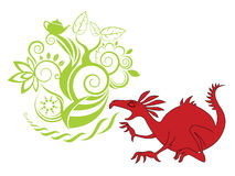 Red dragon illustration with design background Stock Photo