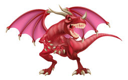 Red Dragon. An illustration of a mean looking fantasy fairy tale red dragon Stock Photos