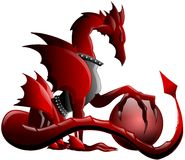 Winged Red dragon with sphere isolated royalty free stock photo