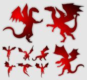 Red dragon. The image of a red dragon in a variety of positions. A great image to create tales about the knights and beautiful princesses or for the decoration Royalty Free Stock Photos