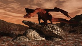 Red Dragon on a lava flow. 3d Digitally rendered illustration of a red dragon standing on a rocky outcrop in the middle of a lava flow Stock Photo