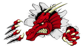Red dragon mascot breaking through wall. A scary red dragon mascot ripping through the background with sharp claws Stock Photo
