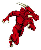 Red dragon mascot sprinting Stock Images