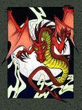Red dragon at night. Fierce red dragon in front of a full moon. Ink drawing Royalty Free Stock Images