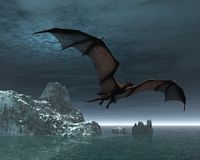 Red Dragon at Night. Red dragon flying over the sea and snow covered islands at night, 3d digitally rendered illustration Royalty Free Stock Photos