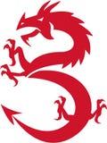Red Dragon Prancing Silhouette Retro Stock Photos