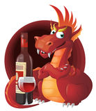 Red Dragon and red wine. Royalty Free Stock Photography