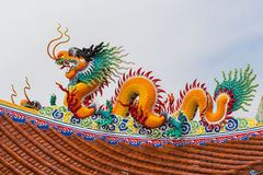 Red dragon on roof Stock Image