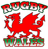 Red dragon Rugby Wales flag. Illustration of a red dragon symbol flag of Wales with words Rugby Wales Stock Photo