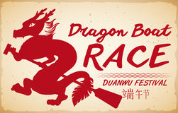 Red Dragon Silhouette for Boat Race Promo in Duanwu Festival, Vector Illustration Royalty Free Stock Photography