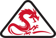 Red Dragon Silhouette Triangle Retro Royalty Free Stock Image