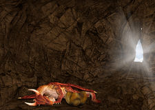 Red Dragon Sleeping Lair Cave Illustration Royalty Free Stock Image