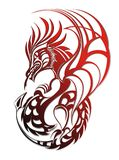 Red Dragon. Tattoo design Royalty Free Stock Image