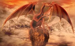 Red dragon on top of a rock Royalty Free Stock Photography