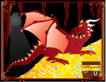 Red dragon with treasures Royalty Free Stock Photography
