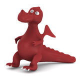 Red dragon on white. 3D image stock illustration