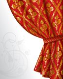 Red drape. Isolated raster version of image of a red drape with gold vintage ornament (contain the Clipping Path). There is in addition a format (EPS 8 royalty free illustration