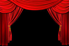 Red Draped Stage Background. Bright Red Stage Theater Draped Curtain Background on Black Royalty Free Stock Photo