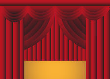 Red Draped Stage Curtain With Stage Stock Image