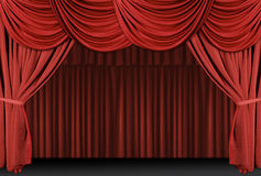 Red Draped Stage Curtains Stock Images