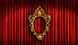 Red drapes with  gold frame. Red drapes with old gold frame Stock Photos