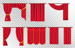 Red Drapes with Gold Tieback and Lambrequin Vector Royalty Free Stock Photo