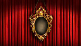 Red drapes with old frame. Red drapes with old gold frame royalty free stock photo